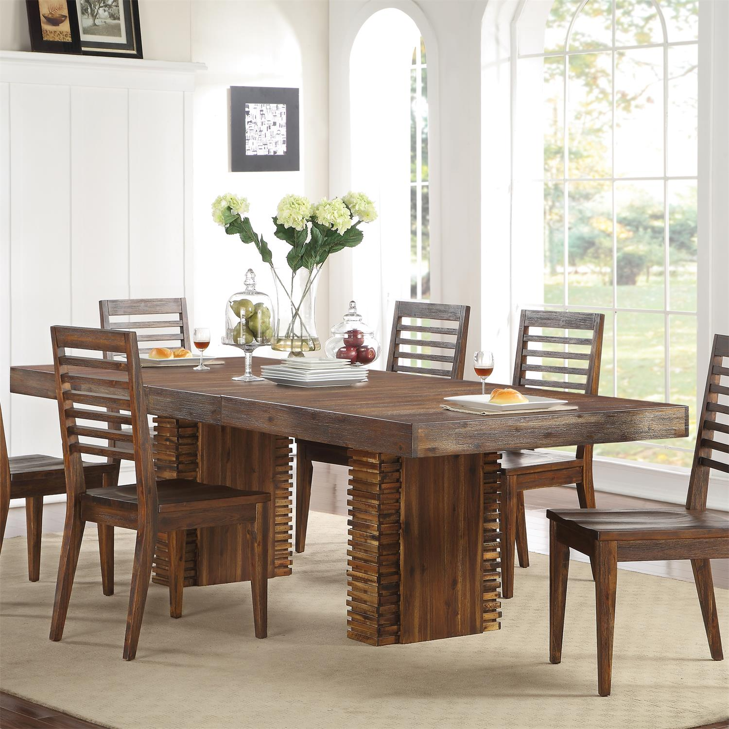 modern gatherings rectangular dining table by riverside lewis furniture store. Black Bedroom Furniture Sets. Home Design Ideas