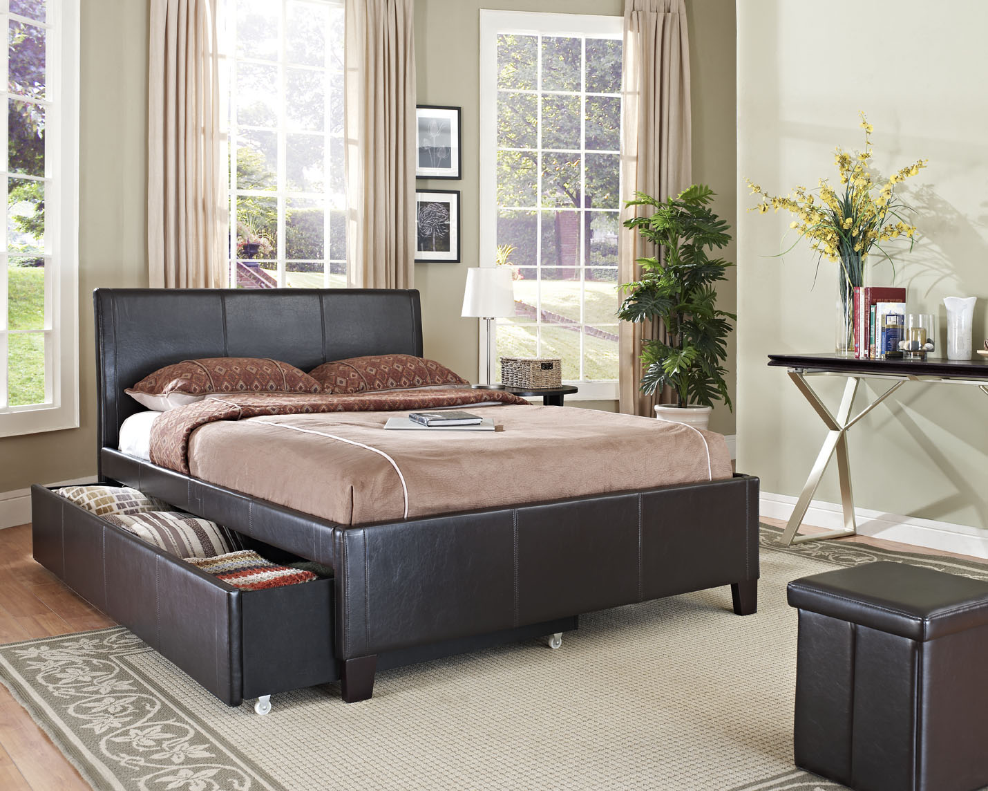 New York Brown Upholstered Trundle Beds by Standard – Lewis
