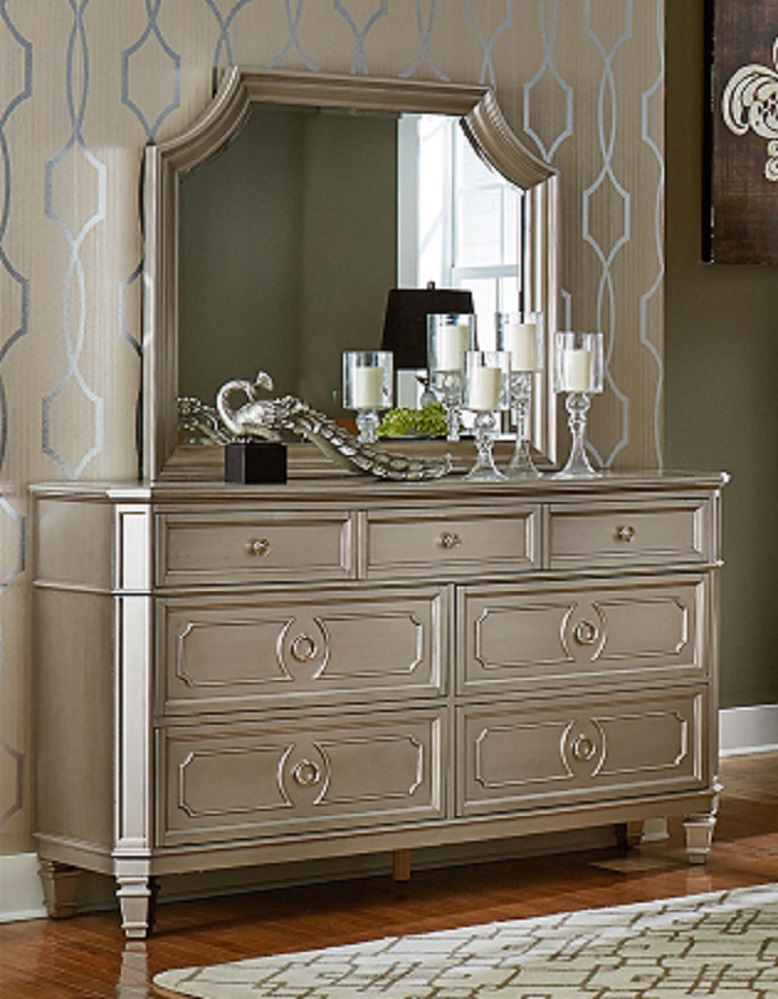 Windsor Silver Dresser And Mirror By Standard Lewis
