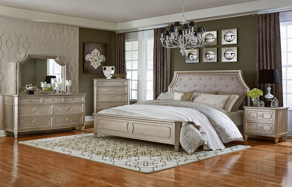 Windsor Silver Upholstered Panel Bed By Standard Lewis